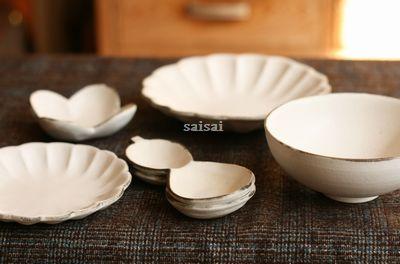 石岡信之 花豆皿 花小皿 花中皿 ひょうたん豆皿 白まる茶碗