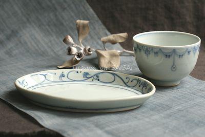 稲村真耶 花唐草楕円皿 瓔珞紋飯碗
