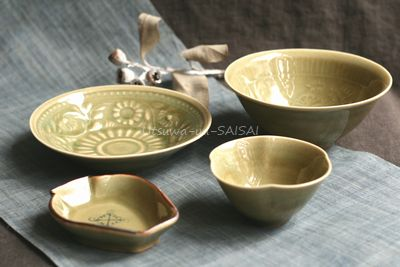 稲村真耶 うぐいす釉壺小皿 花小鉢 印刻菊文5寸皿 印刻菊文4.5寸鉢