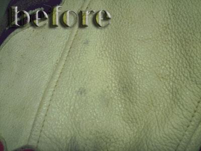 皮革ジャンパーの修復前