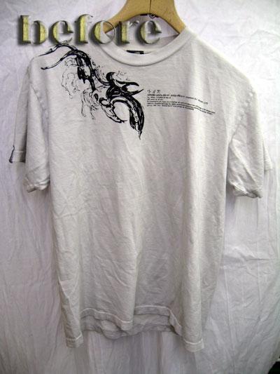 Tシャツの色移りの染み抜き前