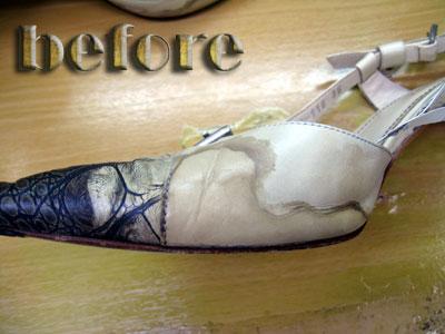 LUSSO MALENA(ルッソ マレーナ)皮革ミュールの修復前