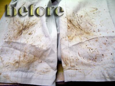 ポロゴルフ(POLO GOLF)フェアウェイパンツの泥の染み抜き前