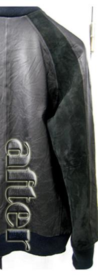 レザー・スエードコンビジャンパーの焼け変色の修復後