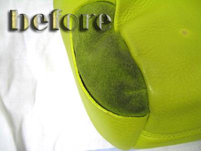 レザー(革)バックの修復と染み抜き前