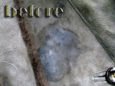 毛皮付きスエードコートの修復・染み抜き前