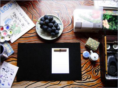 座卓で描く絵手紙