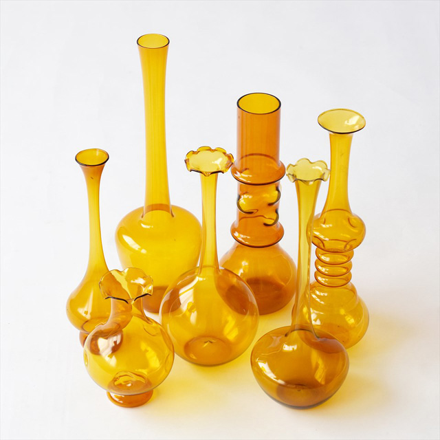 60-70s Vintage, Lauscha Glas Amber(DDR 東ドイツ)