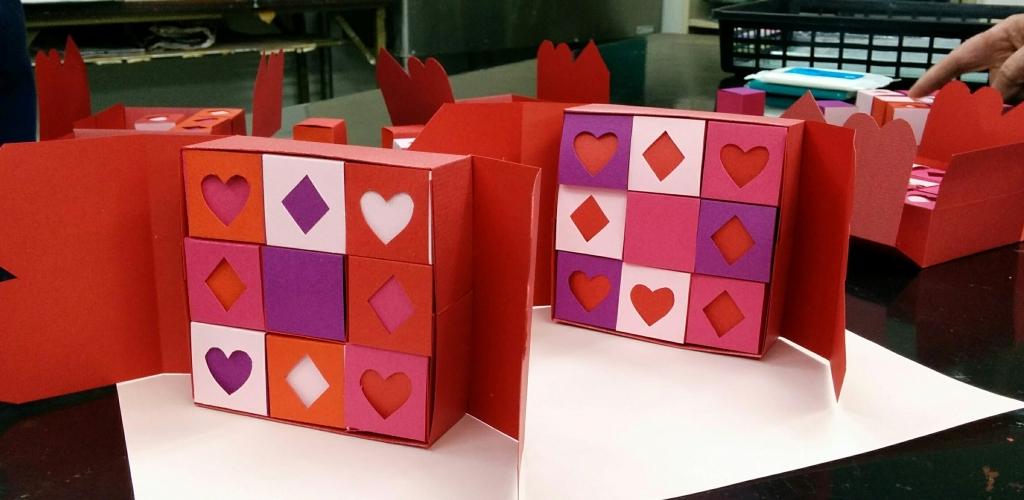紙で作ろう!バレンタイン9キューブBOX受講者作品
