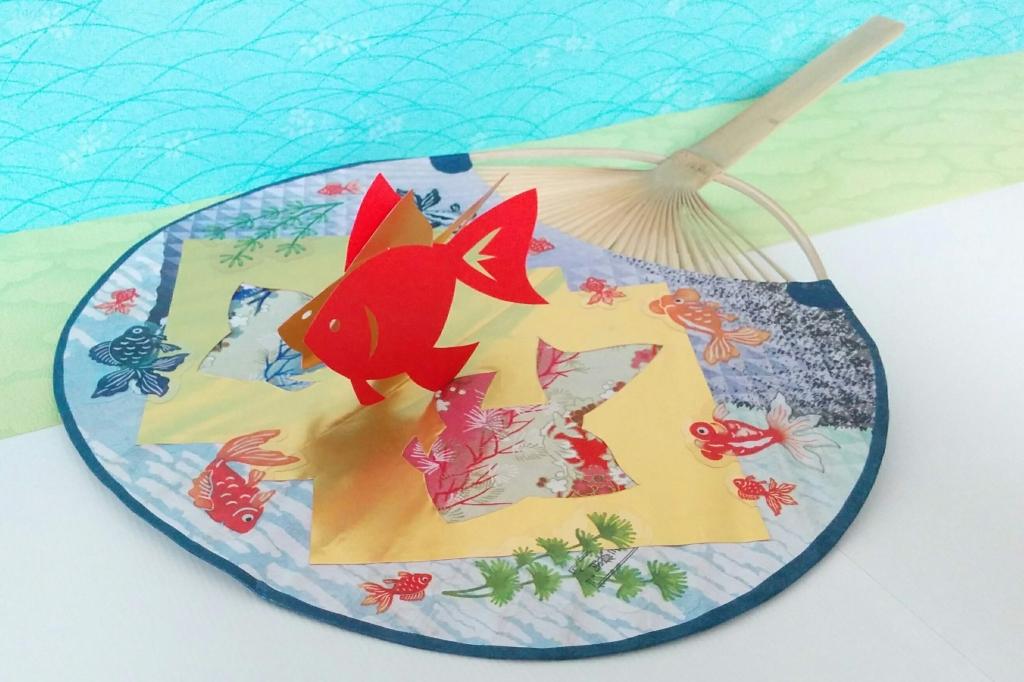 紙で作ろう!立体金魚うちわ
