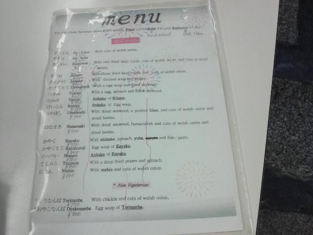 英語のメニュー