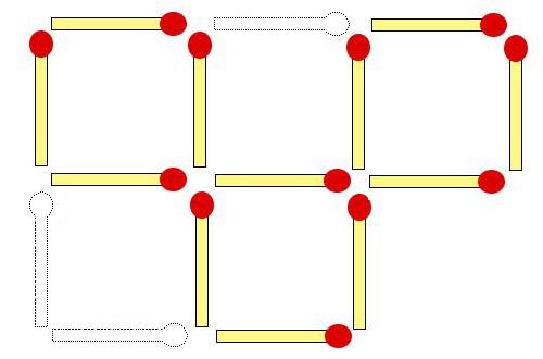 数字の噂・裏技・裏話_マッチを3本動かして正方形を3つ作る問題