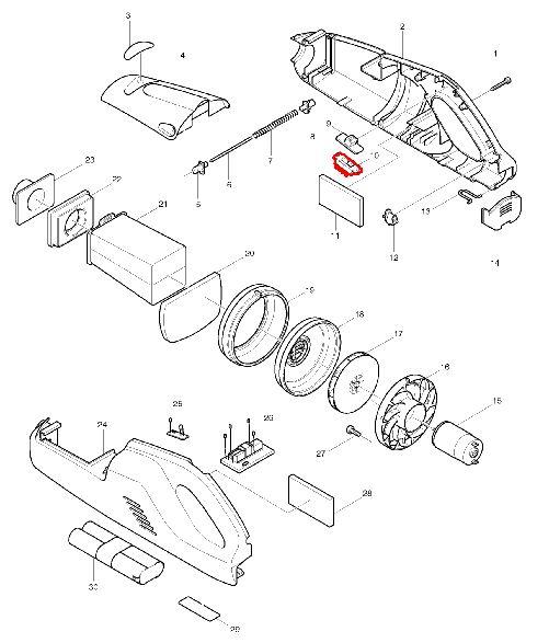 マキタ 充電式クリーナー4072D 展開図