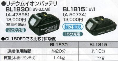 マキタ 18VリチウムイオンバッテリBL1830とBL1815の比較