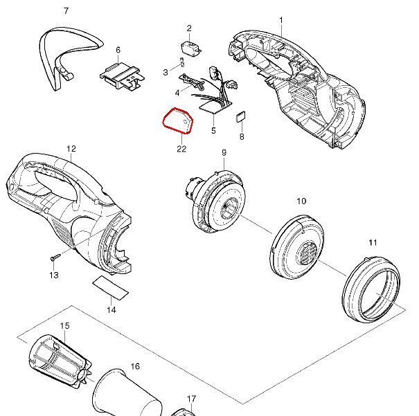 マキタ 18V充電式クリーナーCL180FD 展開図