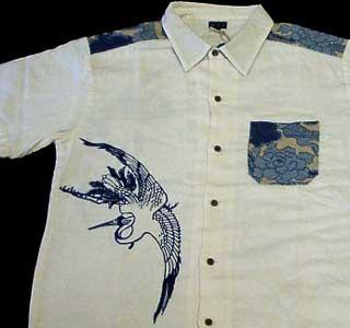 ちきりやガーゼ半袖シャツ「鶴」