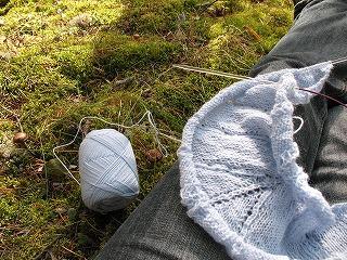 森で編み物