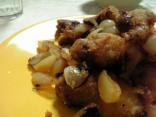 鶏肉とラッキョウの炒め物