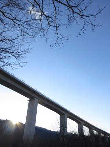 信州飯島町与田切大橋の初日の出