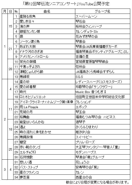 第12回シニアコンサートYouTube公開予定