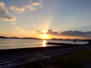 鷲羽山に沈む夕日