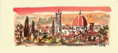絵描きさんの描いたフィレンツェの街並み