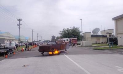 車両火災デモンストレーション