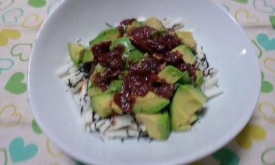 アボカドと長いもの梅風味サラダ