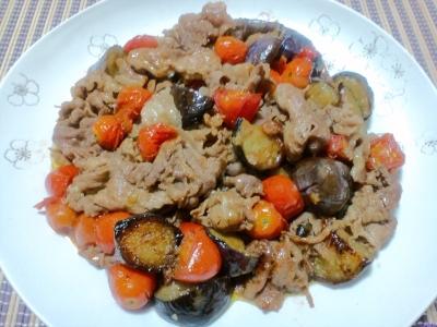 豚肉と茄子とミニトマトの炒めもの