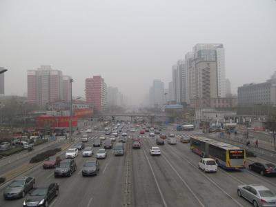 大気汚染が悪化した北京市内