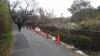 道を補修した後と,倒れた柵