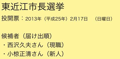 東近江市長選挙(候補者は西沢久夫さんと小椋正清さん)