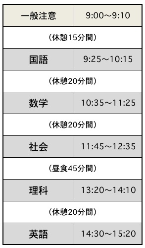 平成27年度の滋賀県立高校入試の時間割スケジュール