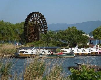 滋賀県東近江市の伊庭内湖(能登川水車とカヌーランド)