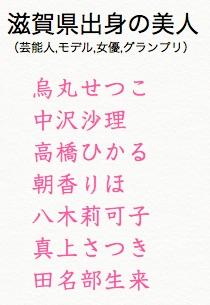 滋賀県出身の女性芸能人,モデル,女優,アイドル