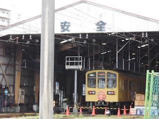 近江鉄道の車庫で洗車体験