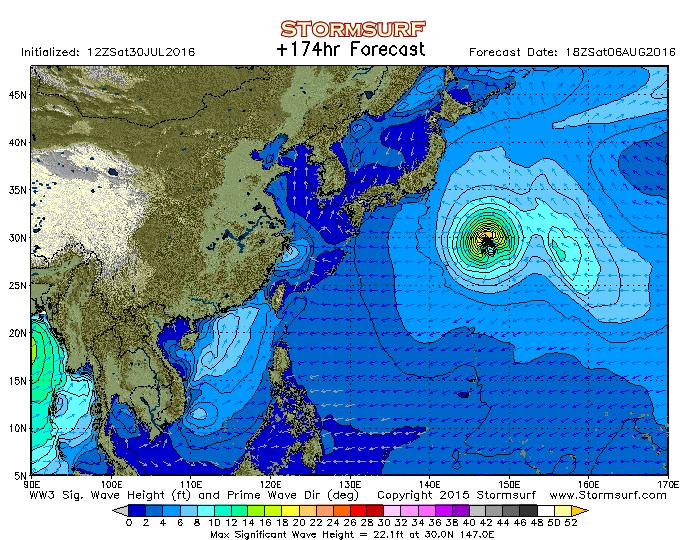 2016年8月3日18時の波浪予想図
