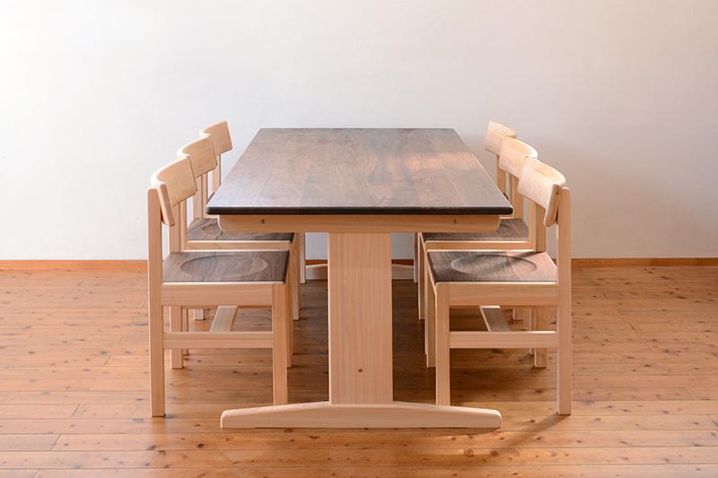 ひのき ウォールナット テーブル2