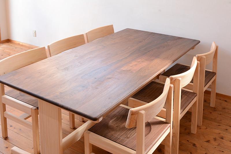 ひのき ウォールナット テーブル3