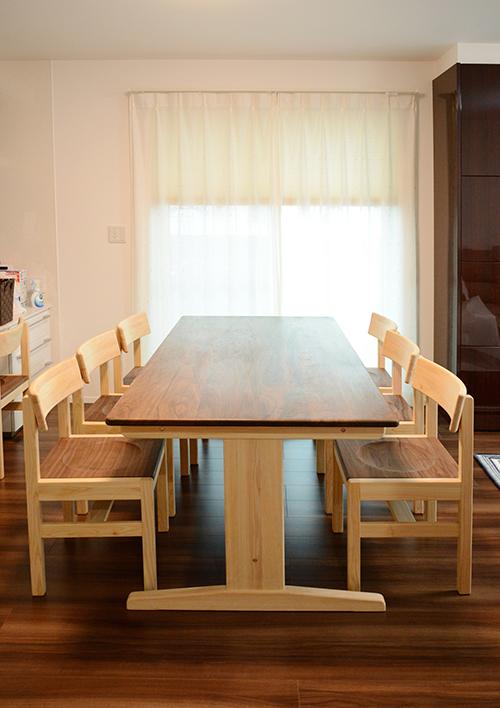 ひのき ウォールナット ダニングテーブル1