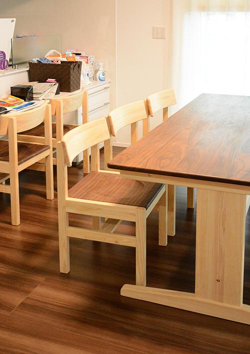 ひのき ウォールナット ダニングテーブル2