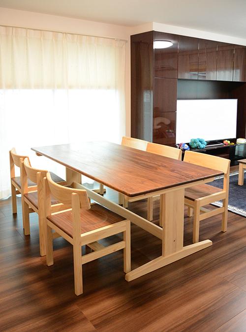 ひのき ウォールナット ダニングテーブル3