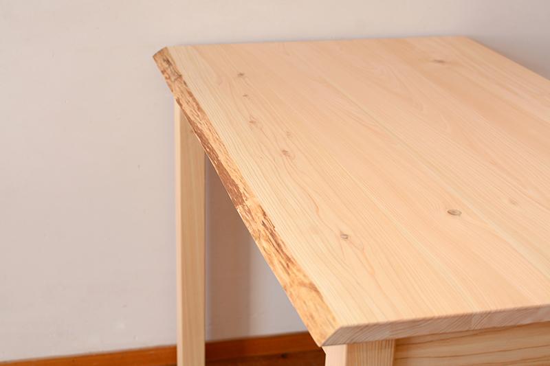 木の皮つき デスク 檜