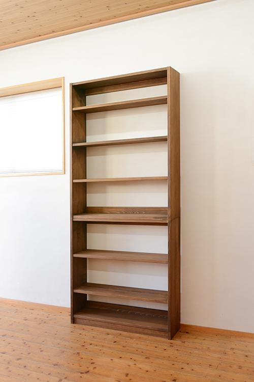ひのき家具 ブラウン塗装 本棚3