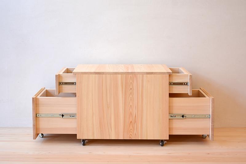 ヒノキクラフト テーブル下収納 両面引出付きワゴン4