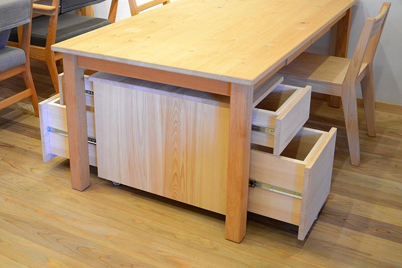 ヒノキクラフト テーブル下収納 両面引出付きワゴン5