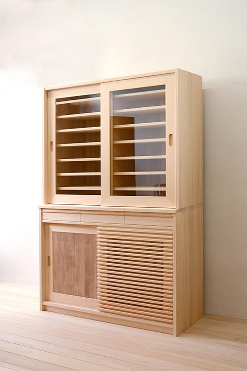 ヒノキクラフト 引き戸食器棚4