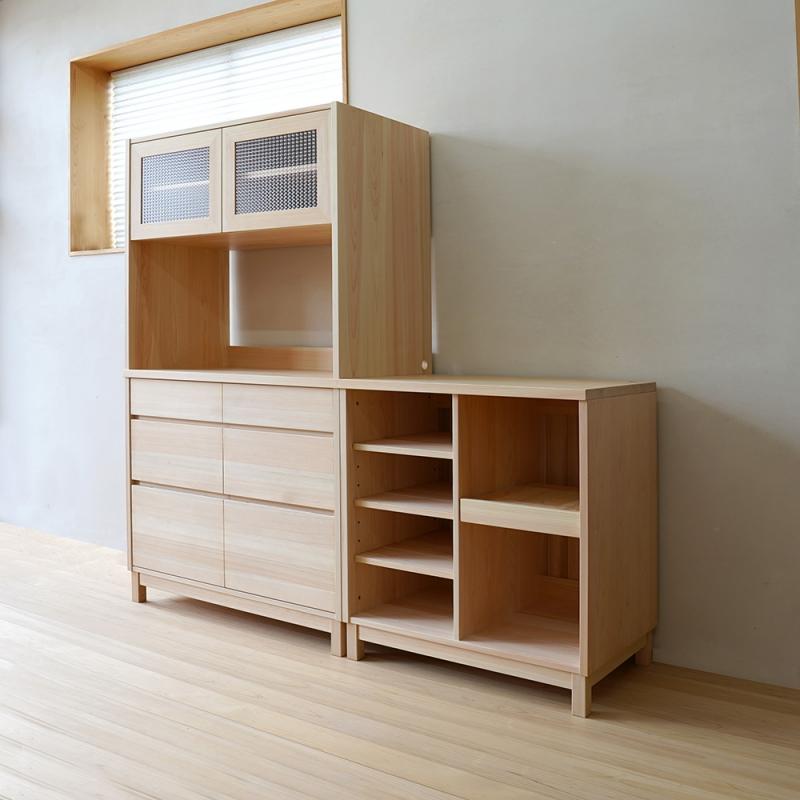 オーダー家具|チェッカーガラスの食器棚