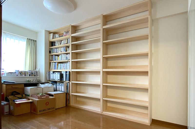 オーダー家具 壁面書棚 カウンター下収納