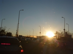 246渋滞中の夕日☆16-12-17